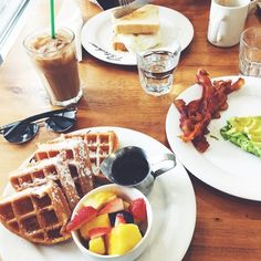 privilegedprep:  What's brunch without waffles? (at Patachou on the Park - Cafe Patachou Downtown Location)