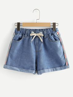 Shop Striped Tie Waist Denim Shorts at ROMWE, discover more fashion styles online. Cute Casual Outfits, Short Outfits, Summer Outfits, Girl Outfits, Fashion Outfits, Fashion Weeks, Cute Shorts, Denim Shorts, Short Women Fashion