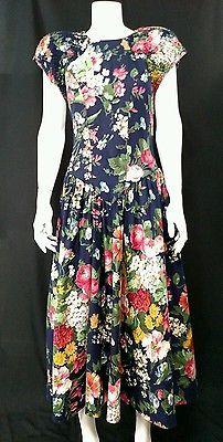 VTG 80's Multi-colored Floral Print Drop Waist Dress By Ed Michaels    Medium