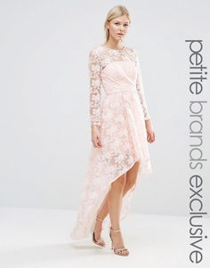 Chi Chi Petite Chi Chi London Petite All Over Lace Floral Dress With High Low Hem