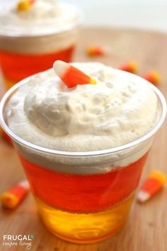 Halloween Candy Corn JELL-O - Have fun with this easy and yummy Halloween Kids Food Snack Idea. Recipe on Frugal Coupon Living.