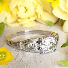Platinum Art Deco Engagement Ring 0.70ct Old by RedGingerJewelryCo