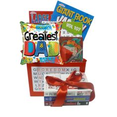 Boredom Buster With Book Gift Box for Dad with puzzle books and your choice of a paperback book.  Available for $39.95 from Book Bouquet.