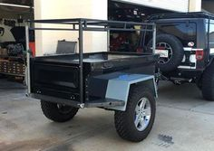 "As many customers do, Mark is sharing about his M416 style Dinoot trailer project in a build thread, http://tventuring.com/trailerforum/thread-1026.html . We sent him a ""standard"" frame, he added some nice side steps and is work on a telescoping rack for using a covered entry style roof top tent."