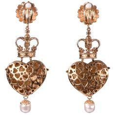 Pre-owned Earrings (5.082.015 IDR) ❤ liked on Polyvore featuring jewelry, earrings, heart jewellery, dolce gabbana earrings, heart jewelry, red earrings and nickel free earrings