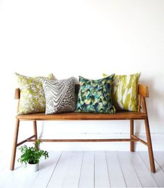 A fresh, modern, textile design studio specialising in creating beautiful patterns, fabrics and accessories for home interiors. Yellow Cushion Covers, Yellow Cushions, Kilm Pillows, Throw Pillows, Eames, Bright Pillows, Pantone, Living Styles, Fancy
