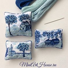 sosuperawesome: Miniature Embroidered Pillows Miniarthouse on. Felt Embroidery, Cross Stitch Embroidery, Embroidery Patterns, Diy Doll Miniatures, Miniature Crafts, Dollhouse Accessories, Fabric Art, Barbie Furniture, Pin Cushions