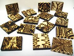 16 Woodburned Southwest Style Tiles Abstract by GrayWolfGallery, $55.00