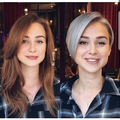 10 Cute Short Haircuts, Make-overs: Long Hair to Short Hair Before & After - Aktuelle Damen Frisuren Before After Hair, Before And After Haircut, Thin Hair Haircuts, Short Pixie Haircuts, Long Hair Cut Short, Short Hair Styles, Pelo Pixie, Extreme Hair, Hair Pictures