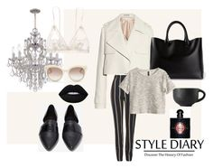 """""""elegant classy black and whitw"""" by zahirovic ❤ liked on Polyvore featuring Balenciaga, Chloé, Shellys, Hanky Panky, Valentino, Topshop, H&M, Yves Saint Laurent and Lime Crime"""