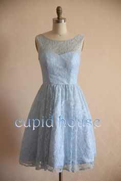 Short Sky Blue Lace Bridesmaid Dress Cheap White by CupidHouse, $89.00
