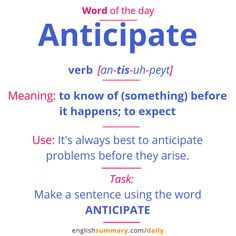 Anticipate Meaning, Pronunciation & Use English Grammar Worksheets, Learn English Grammar, English Writing Skills, Learn English Words, English Idioms, English Phrases, English Language Learning, English Lessons, Good Vocabulary Words
