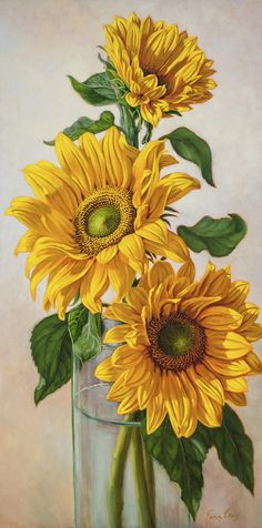 This is an oil painting on gallery-wrap canvas of three yellow sunflowers in a green glass vase. Watercolor Sunflower, Sunflower Art, Watercolor Flowers, Sunflower Paintings, Art Floral, Oil Painting On Canvas, Watercolor Paintings, Canvas Canvas, Body Painting