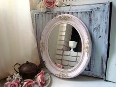 Shabby Chic Pink Ornate Vintage Mirror Oval by WillowsEndCottage