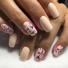 Beige nail art, Cute nails, Delicate nails, flower nail art, Light nails, Manicure 2018, Modern nails, Nails trends 2018