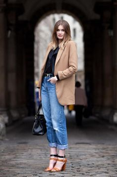 Love this jeans look, rolled up with sandals and menswear jacket from a thrift shop or consignment!