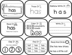 Sight word mini book sample for the words can, like, and the. Students practice several skills such as writing the words, identifying vowels and consonants, reading the word to a friend and identifying how many syllables. Sight Word Spelling, Teaching Sight Words, Sight Word Practice, Sight Word Games, Sight Word Activities, Kindergarten Reading, Teaching Reading, Reading Games, Learning