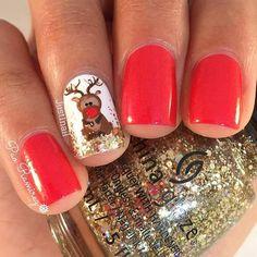 Cute Christmas Nail Design for Short Nails