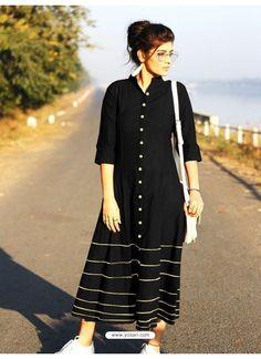 Black Cotton Dory Work Kurti