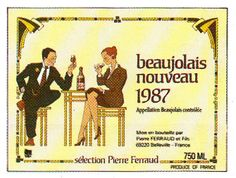 Beaujolais Nouveau 1987 French Wine Label