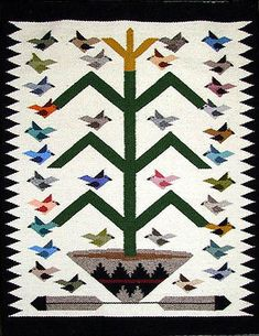 Navajo Rug Weaving by Marie Begay - Bird Pictorial Navajo Weaving, Navajo Rugs, Hand Weaving, Native Design, Cowboys And Indians, Bird Tree, Native American Tribes, Diy Canvas, Classroom Themes