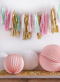 Mint Pink and Gold Fringe Tassel Garland Decoration by theBannerie perfect for your kid's room, wedding, engagement party, bridal shower, baby shower, birthday party, or photoshoot!