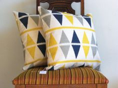 IKAT PILLOW throwNavy blue Gray Yellow18 x 18 Triangle modern bold big Geometric white Gray blue navy cotton Home Decorative set of two on Etsy, £26.43