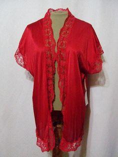 Vintage 70s Olga Short Nylon Lace Robe w Tags 93097 Red Lingerie Soft Pinup Mini