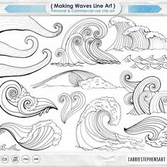 Flower Drawing Discover Wave Line Art Silhouettes Water Clip Art Coastal ClipArt Ocean Images Nautical Sea Life Swimming Beach Illustrations Line Art Photoshop, Photoshop Brushes, Brosses Photoshop, Watercolor Wave, Beach Illustration, Zentangle Patterns, Zentangles, Embroidery Patterns, Art Clipart