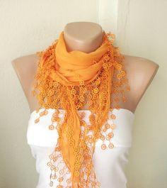 Orange, mandarin, spring color Cotton Scarf with Tassel Lace