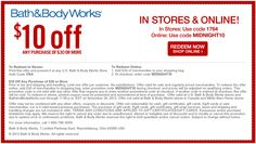 Bath & Body Works: $10 Off Any Purchase of $30 or More