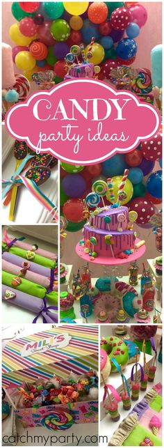 a sweet and colorful candy themed birthday party! See more party ideas at ! 2 Birthday, Birthday Candy, 10th Birthday Parties, Girl Birthday Party Themes, Birthday Ideas, Colorful Birthday Party, Turtle Birthday, Turtle Party, Carnival Birthday