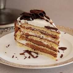 Princess Sissi Torte. Delicious layered cake with chocolate, butter cream and whipped cream. [recipe in English, scroll down]
