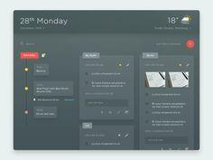 Task Memo Schedule Weather & etc. (Dark Color) by Anton Chandra #Design Popular #Dribbble #shots