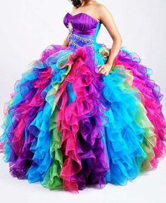Rainbow Quinceanera Party Dress Prom Formal Wedding Evening Ball Gowns Custom in Clothes, Shoes & Accessories, Wedding & Formal Occasion, Bridesmaids' & Formal Dresses | eBay