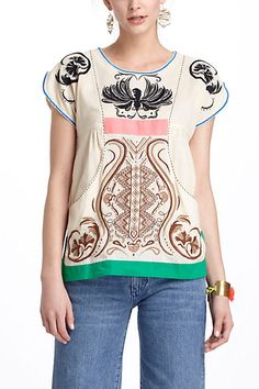 Pocketed Peasant Blouse  Anthro Summer 2012