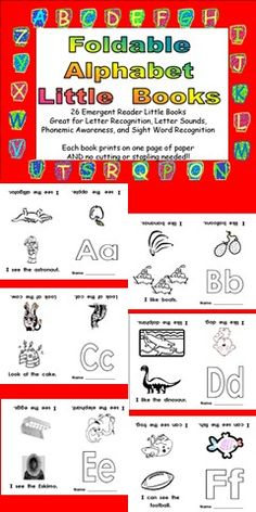 This is a set of 26 emergent reader little books- one for each letter of the alphabet!! Each book prints on a single sheet of paper; students simply fold the paper into a book! No cutting, sorting, or stapling is needed!