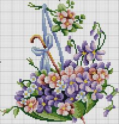 Green Umbrella With Flowers 1 of Cross Stitch Bookmarks, Cross Stitch Cards, Cross Stitch Rose, Cross Stitch Flowers, Cross Stitch Kits, Cross Stitch Designs, Cross Stitching, Cross Stitch Embroidery, Hand Embroidery