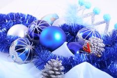 Blue Christmas Balls with Silver Pinecone Decorations