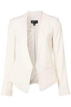 {sleek white blazer - a must for *every* closet} {crop back collarless blazer via topshop}