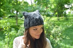 Speckled Black Knitted Cat Ear Hat, French Beret, Womens Hat, Winter Accesory, Cable Knit Hat, Hand Knit Hat, Knitted Warm Hat, Knit Cat Hat by loveisallweknit on Etsy