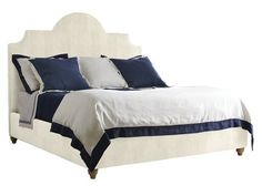 Stanley Furniture Coastal Living Retreat Irish White Herringbone King Breach Inlet Upholstered Bed