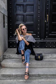 MLM off shoulder blouse layering, Miu Miu glasses, Miu Miu ballerinas, used jeans, Chloé Drew #mbfwb Streetstyle | More here: http://www.ohhcouture.com/2016/07/mbfwb-looks-berlin/ |