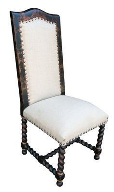 Hand made chair with solid wood and fabric, visit our website to look at the wide range of chairs and home furnishings. Hand Painted Furniture, Handmade Furniture, Unique Furniture, Furniture Making, Tuscan Furniture, Rustic Furniture, Modern Rustic Homes, Tuscan House, Elegant Dining Room