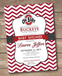 Ohio State Baby Shower Invitation - Buckeye Baby Shower - Printable