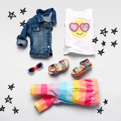 Toddler girls' fashion | Kids' clothes | Embellished graphic top | Embellished graphic top | Rainbow double-strap sandals | Rainbow sunglasses | Denim jacket | The Children's Place