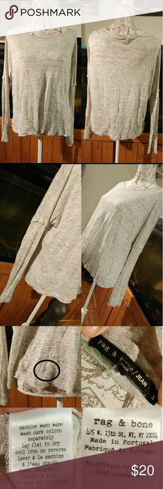 RAG&BONE LINEN LIGHT SHIRT My favorite shirt for this weather. It's 100% linen long sleeves light weight sweater like top. One flaw..got caught by something one day and made a hole in lower front left. This hole is shown in pix 3 top left. Price reflects the damage. rag & bone Tops