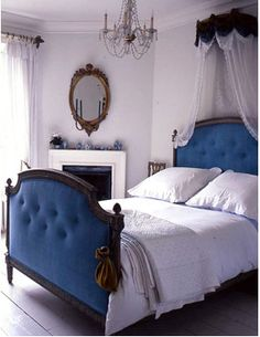 Blue Tufted Headboard/Footboard. #blue #headboard #tufted #bedroom