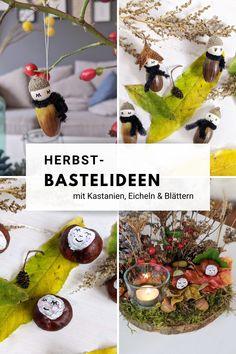 Herbst Bastelideen: Eicheln, Kastanien Diy For Kids, Christmas Bulbs, Autumn, Holiday Decor, Home Decor, Bricolage, Craft Instructions For Kids, Fall Diy, Kids Diy