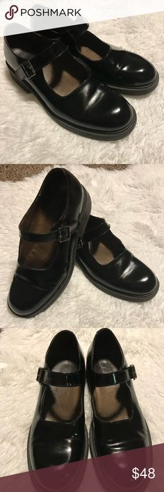 "J. Crew size 9 black patent leather Mary Janes J. Crew size 9 black patent leather Mary Janes. Made in Italy, silver buckle, 1.75"" block heel. Retro vintage look J. Crew Shoes"
